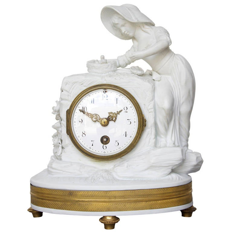 Romantic Period Clock in a Sevres Bisque Porcelain Surround 1