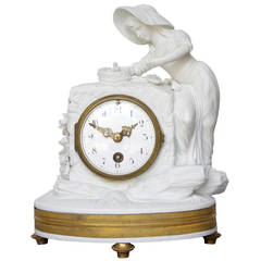 Romantic Period Clock in a Sevres Bisque Porcelain Surround