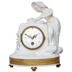Romantic Period Clock in a Sevres Bisque Porcelain Surround