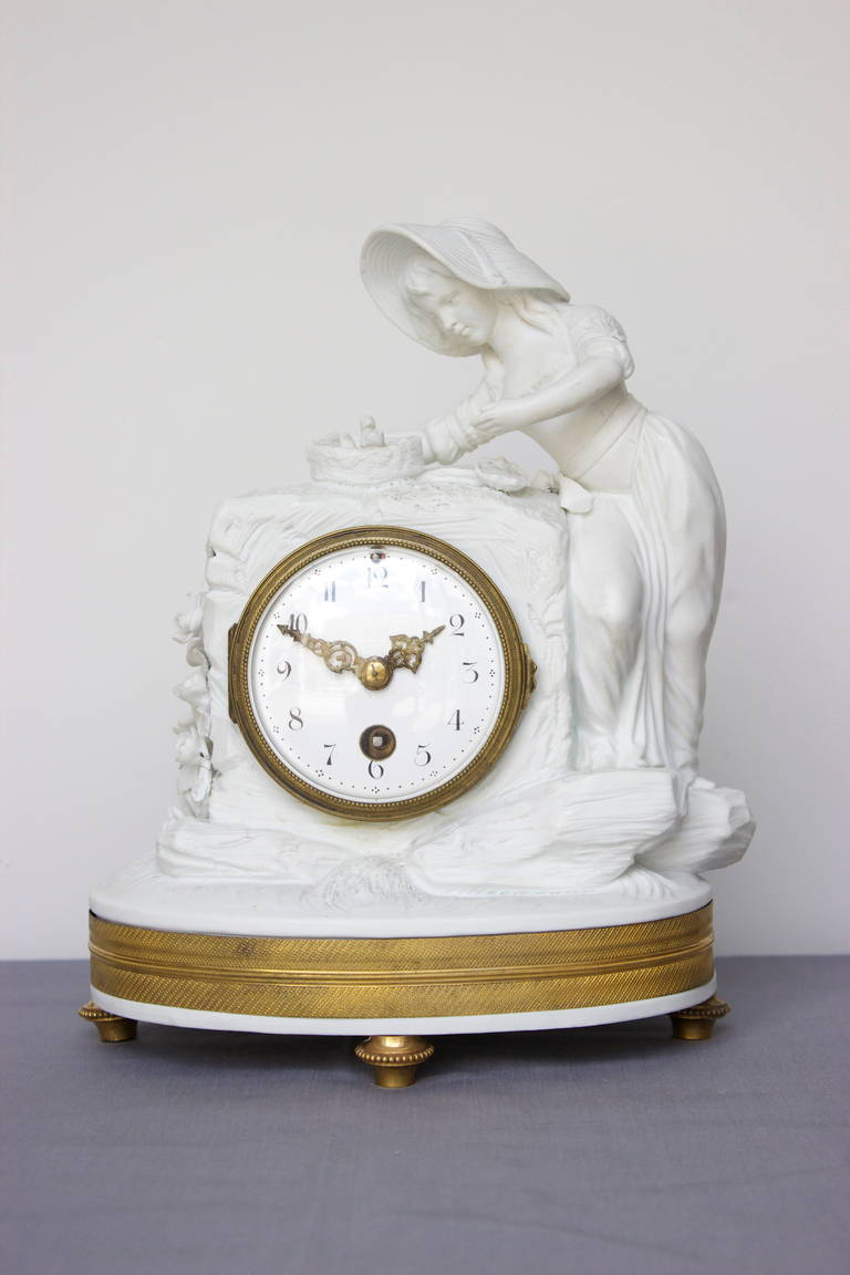 Romantic Period Clock in a Sevres Bisque Porcelain Surround 2