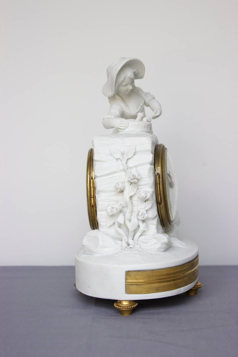 Romantic Period Clock in a Sevres Bisque Porcelain Surround 3