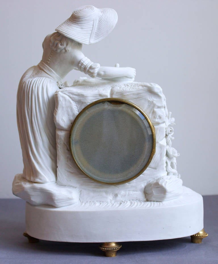 Romantic Period Clock in a Sevres Bisque Porcelain Surround 4