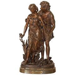 L'Aveu, Bronze Sculpture by Hippolyte Moreau