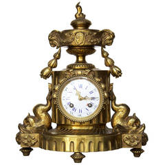 French Bronze Mantel Clock in Louis XVI Style