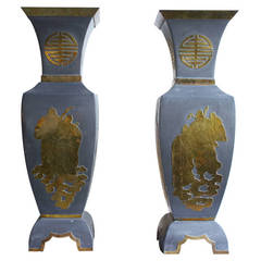 Pair of Large Asian Pewter Vases