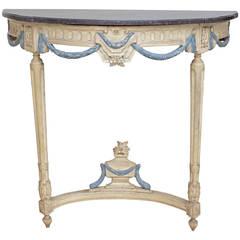 French Louis XVI Period Demilune Console Table