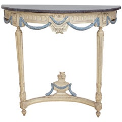 French Louis XVI Period Demilune Console Table