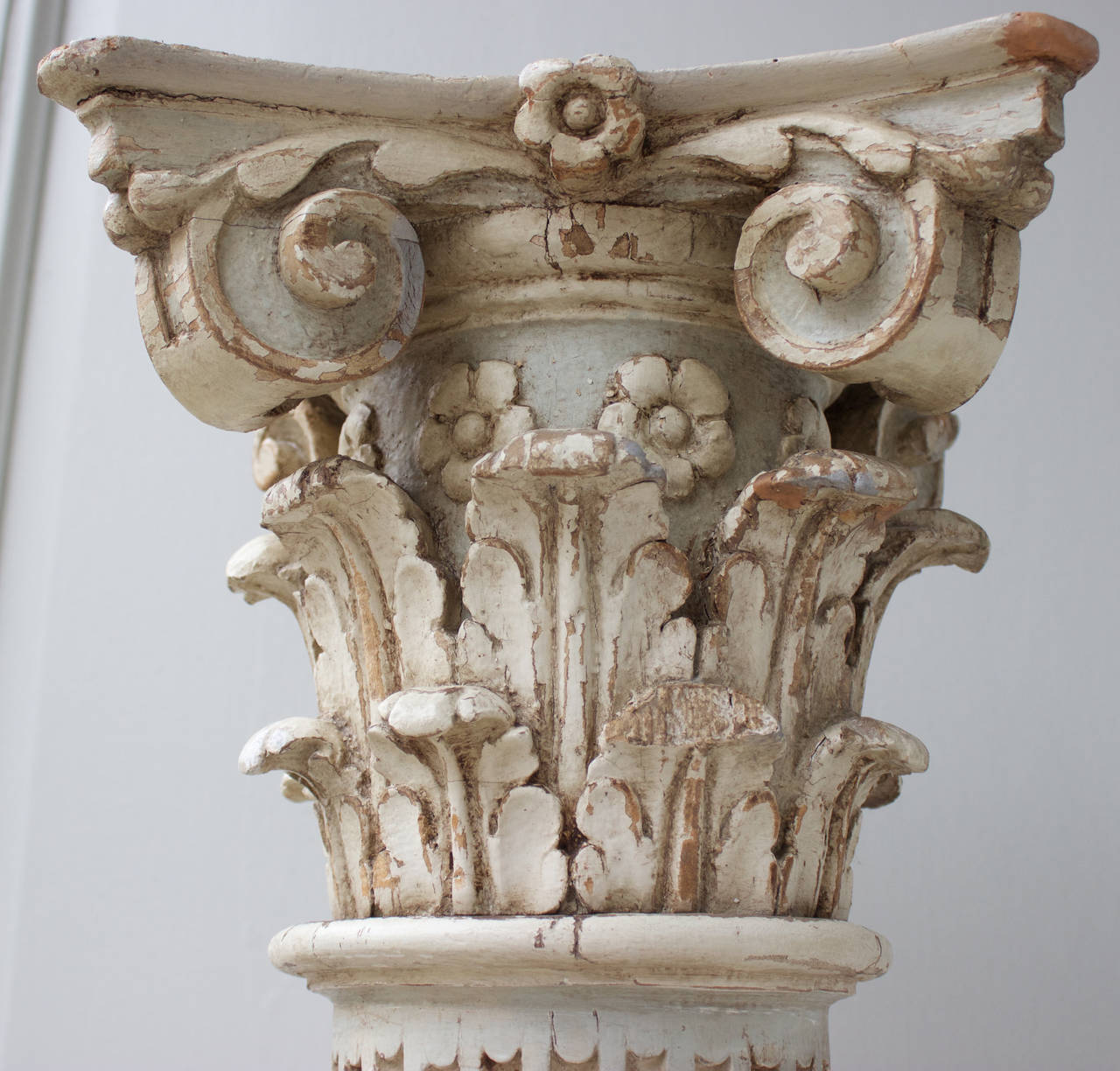 18th Century French Painted Fluted Column With Corinthian