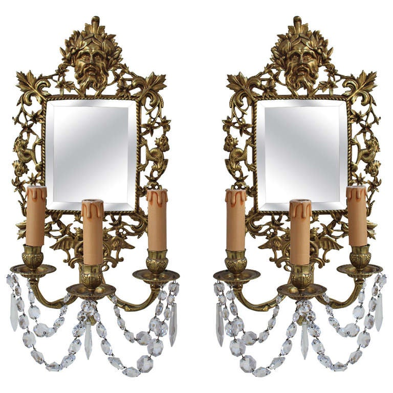 Pair Of French 19th Century Bronze Sconce With Mirrors For
