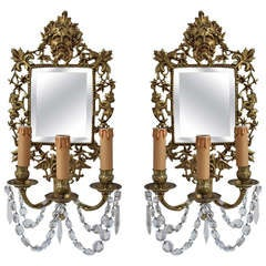 Pair of French 19th Century Bronze Sconce with Mirrors