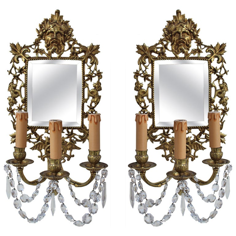 Pair of French 19th Century Bronze Sconce with Mirrors For Sale