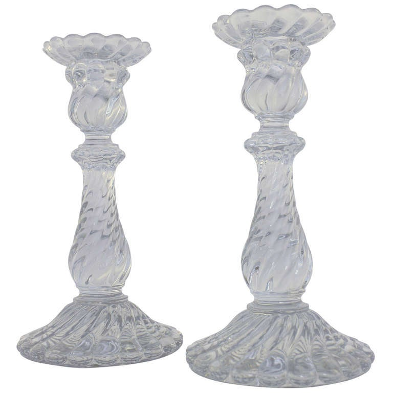 Pair Of Baccarat Crystal Candlesticks At 1stdibs