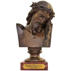 French Christ Bronze Bust by Barbedienne