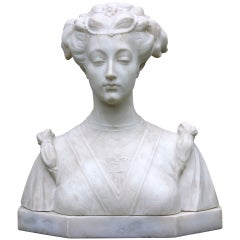 Hand-Carved Italian Marble Bust