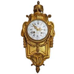 19th Century Louis XVI Style, Gilt Bronze Cartel Wall Clock