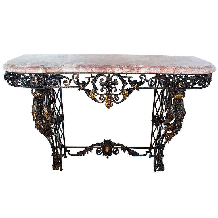 French Wrought Iron And Marble Top Console Table For