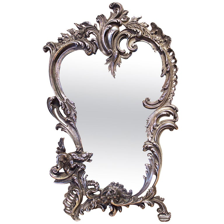 19th Century French Silver Plated Bronze Table Mirror For Sale