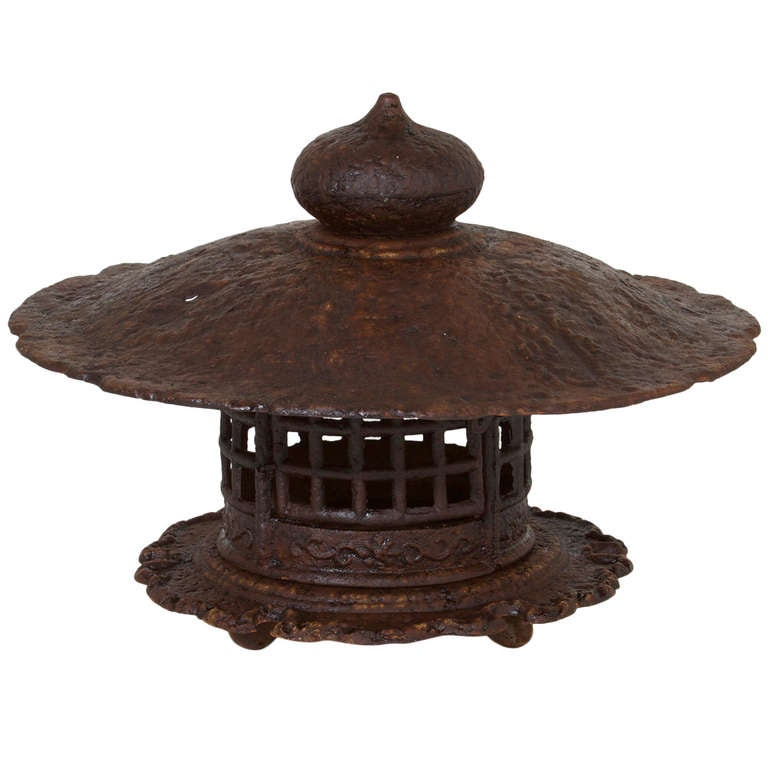 Large Solid Cast Iron Chinese Pagoda Lantern Made To Hold