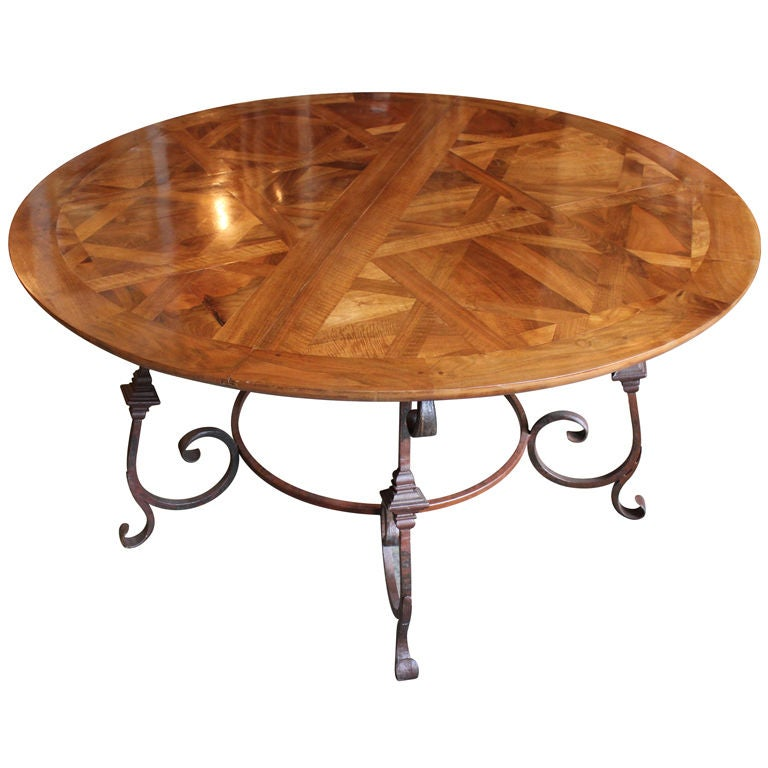 Parquet Top Round Dining Table 1