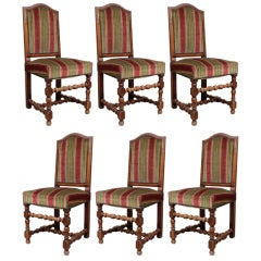 Set of Six Louis XIII Style Dining Chairs