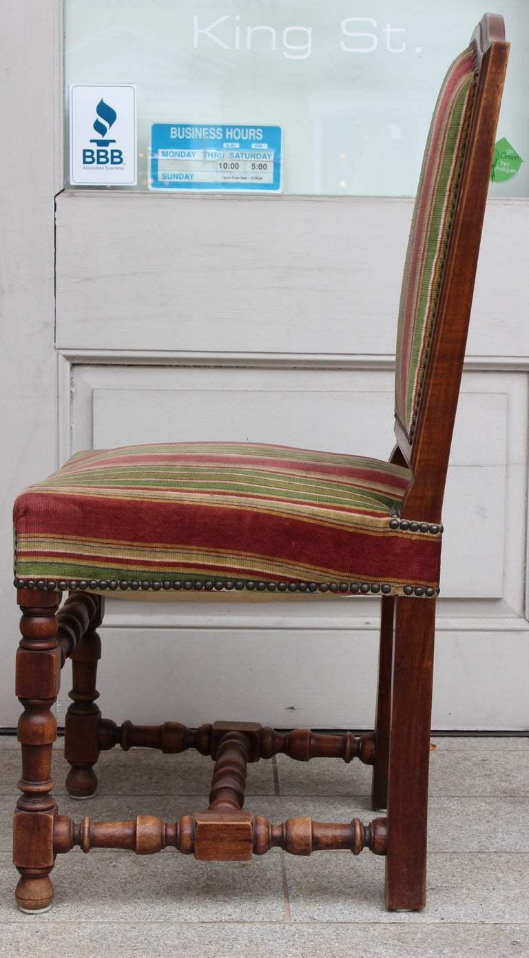 Set of Six Louis XIII Style Dining Chairs In Good Condition For Sale In Charleston, SC