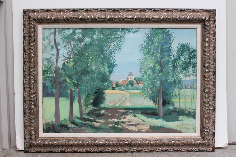 Very interesting oil on canvas, framed, signed Y. Girondeau (French, first half of 20th century) and dedicated on the lower right
