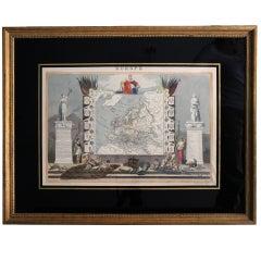 "Antique Engraving of ""Europe"" Drawn by Raimond Bonheur Framed"