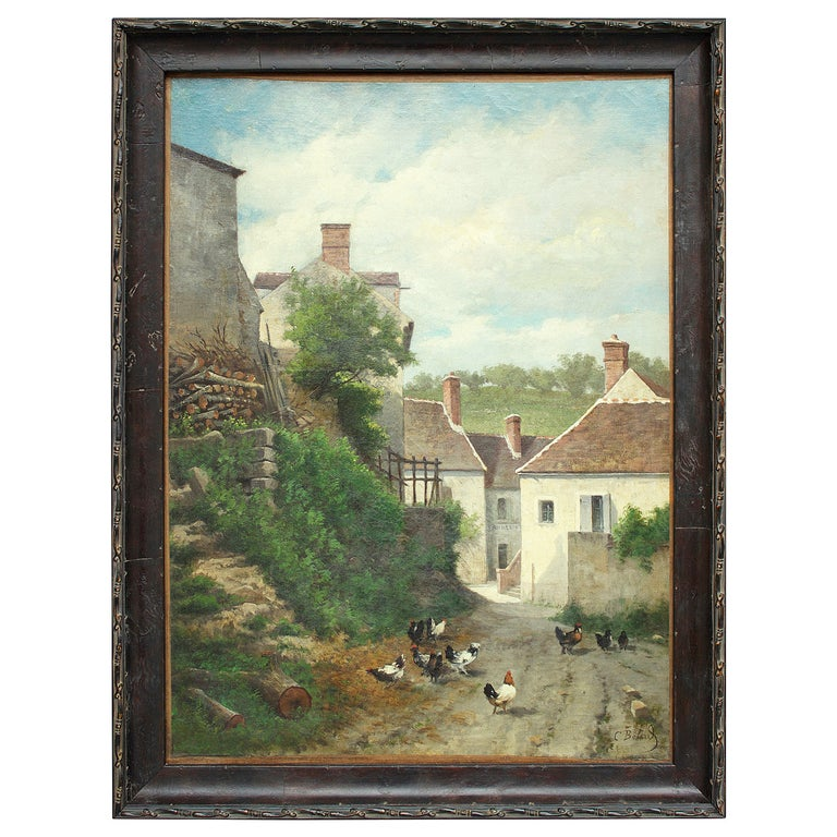 "19th Century French School Painting ""Vue De Village"" For Sale"