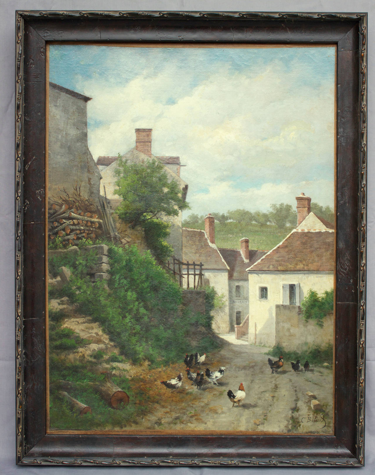Oil on canvas signed C. Bolard on bottom right and portraying a very small village houses with