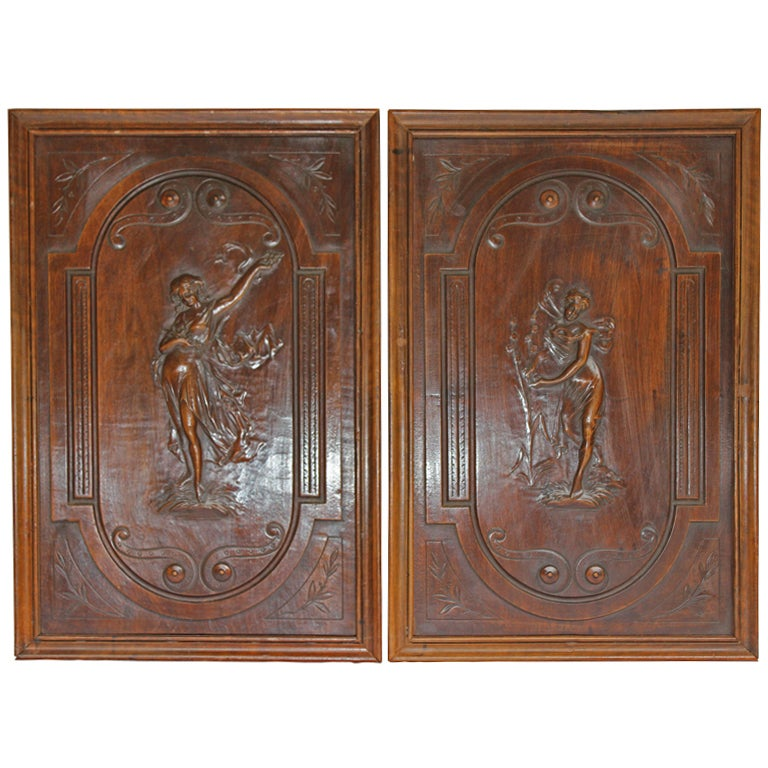 Pair of Art Nouveau Carved Wood Panels 1 - Pair Of Art Nouveau Carved Wood Panels At 1stdibs