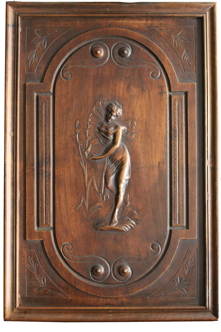Pair of art nouveau carved wood panels at stdibs