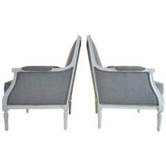 Pair of Louis XVI Style Bergère Chairs