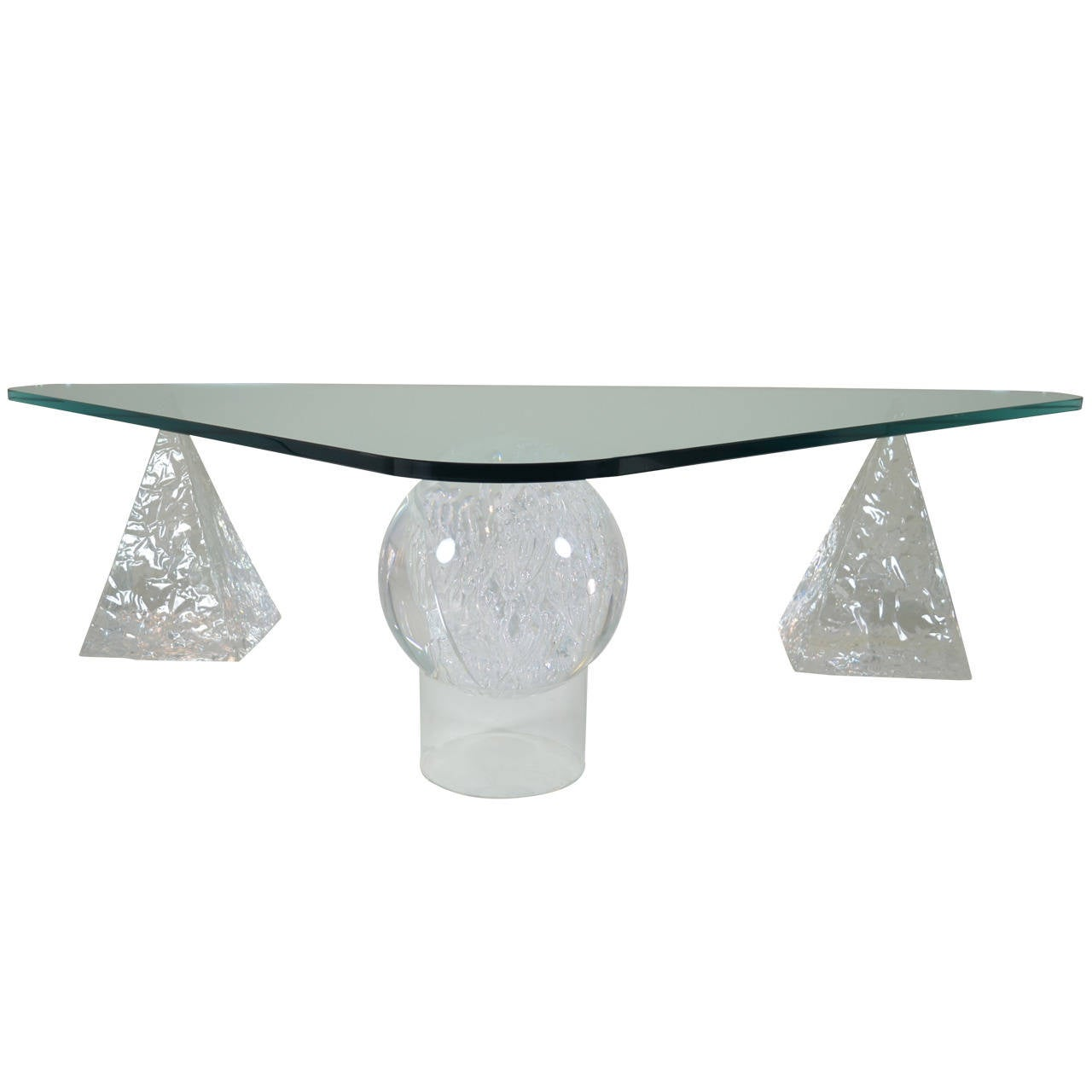 Geometric lucite based cocktail table at 1stdibs for Geometric coffee table
