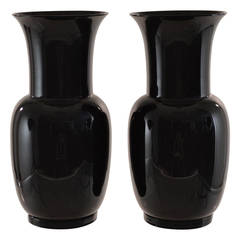 Venini, Pair of Signed Black Glass Urns, dated 1978