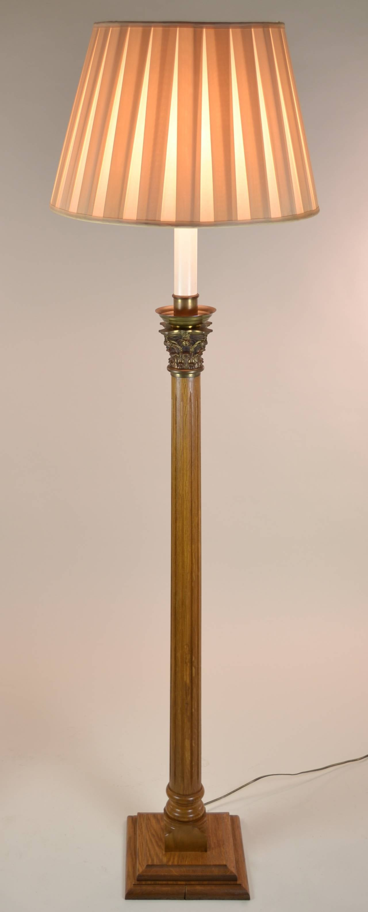 Pair of column floor lamps with corinthian capitals at 1stdibs for Floor pillars