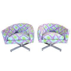 Pair of Milo Baughman Swivel Tilt Barrel Chairs