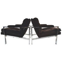 Pair of Milo Baughman Flat Bar Armchairs