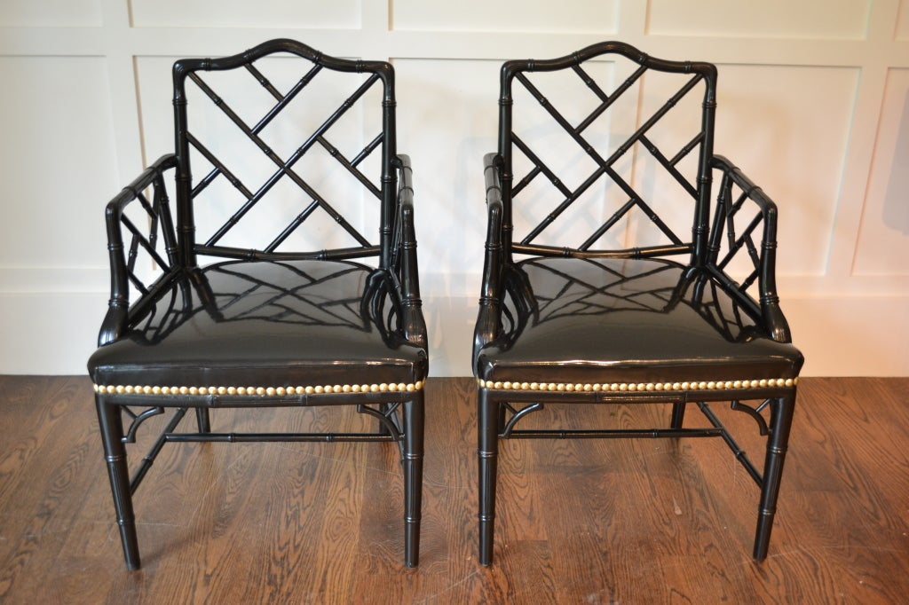 Mid-20th Century Pair of Faux Bamboo Arm Chairs For Sale