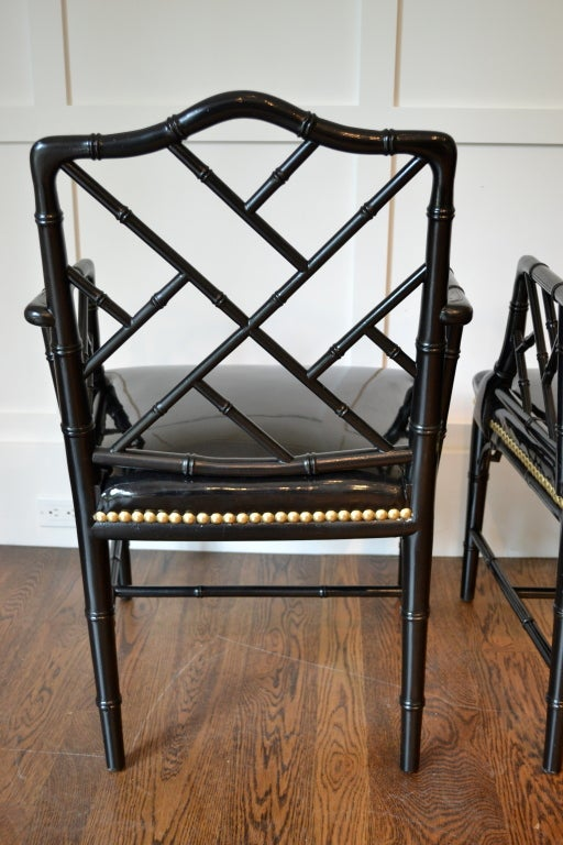 Pair of Faux Bamboo Arm Chairs For Sale 3