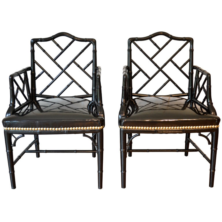 Pair of Faux Bamboo Arm Chairs For Sale