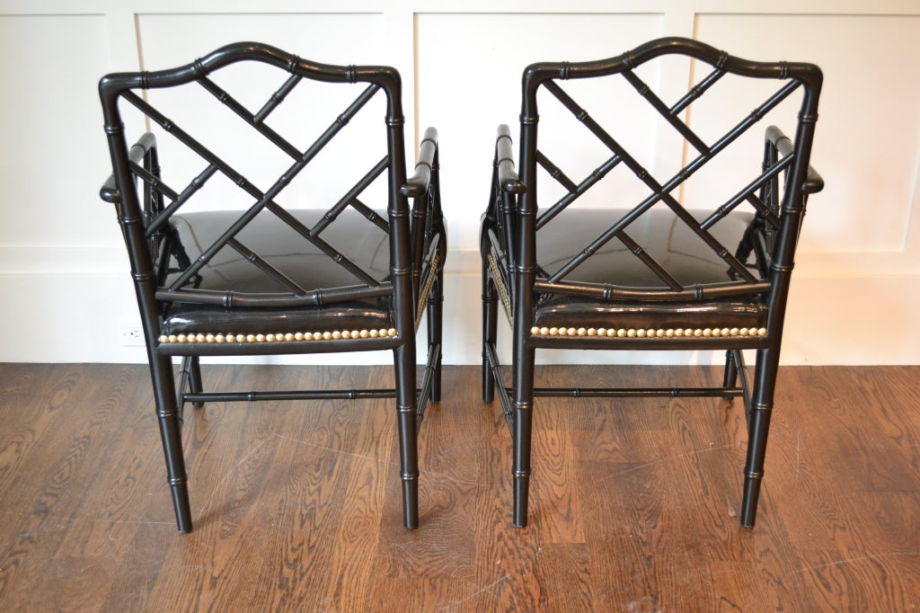 Pair of Faux Bamboo Arm Chairs For Sale 6