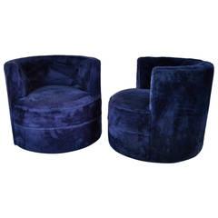 Pair of Modern Barrel Back Swivel Chairs