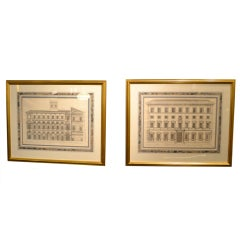 "Pair 17th Century Engravings ""Palazzi Di Roma"""