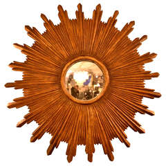 Large Wood Sunburst Mirror with Convex Mirror