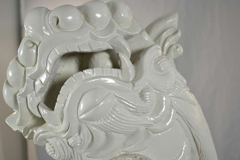 Chinese Large Carved Wood Foo Dog For Sale