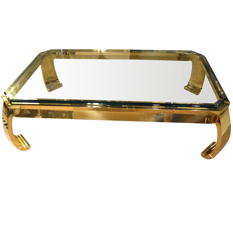 Solid brass and heavy glass cocktail table at 1stdibs for Heavy glass coffee tables