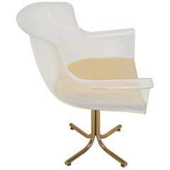 Heavy Lucite Chair on Chrome Base