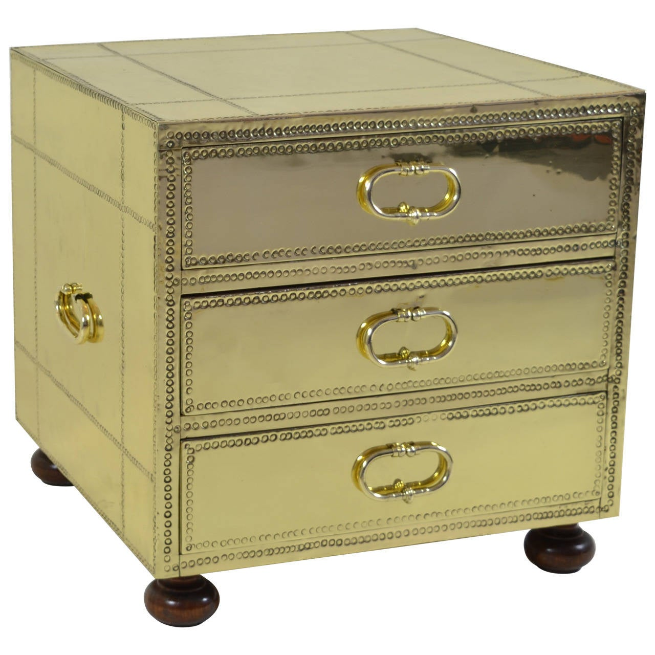 Sarreid Three-Drawer Small Brass-Clad Chest
