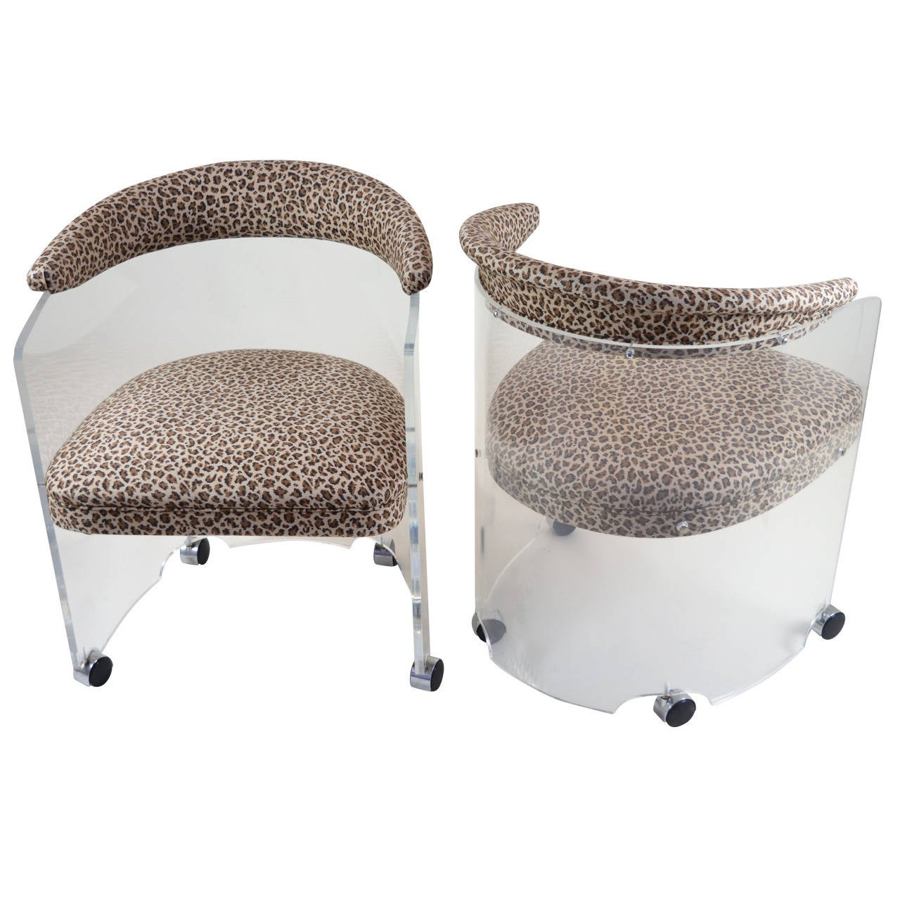Pair of Lucite Barrel Chairs with Leopard Print Seats at ...