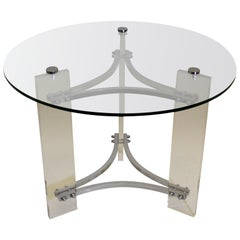 Charles Hollis Jones Lucite and Chrome Table
